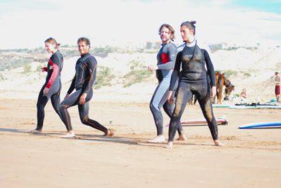 Training beginner surfing in Morocco